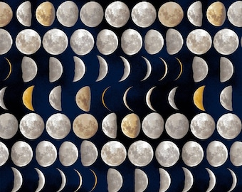 Moon Phases, 1 Yard,  Quilt Fabric, Black Moon Phases, Galileo Collection, Windham Fabric, Vision Studios, Pattern, Moon, Galileo, Night Sky