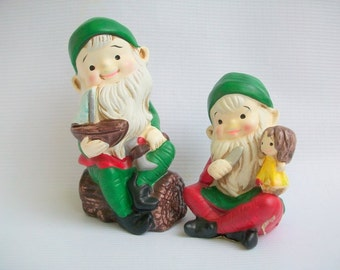 Homco Elves Hand Painted
