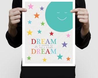 nursery art print space themed moon and stars - dream a little dream - children's room decor kid's bedroom decor, boy or girl gender neutral