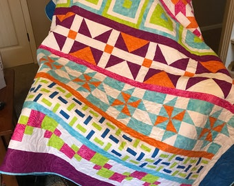 Row By Row/Bright colors/ HANDMADE / Twin bed quilt/ Large lap quilt / throw quilt / patchwork quilt