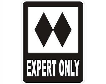 "Expert Only Ski Sign | Ski Trail Ski Lodge Sign |  Custom Ski Sign | Personalized Ski Sign  9"" x 12""  - Indoor or Outdoor use."
