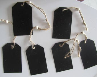 set of 6 rectangular slate with cord and bead