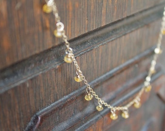 Pontevedra Dainty Dew Drop Citrine Birthstone Necklace on Gold Filled Chain - Feminine and Exotic - Or Customize for Your Wedding