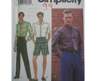 Preppy shorts /Mens/ 90s shorts / pleated / collar 90s shirt / shorts pockets / 1993 sewing pattern, Size chest 46 48 50 52, Simplicity 8571