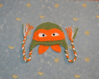 crochet ninja turtle hat inspired by the movie ninja turtle,ninja hat,crochet ninja hat, orange ninja turtle,Toddler,- Made To Order
