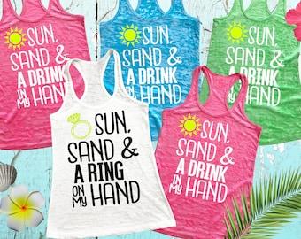 Bridesmaid 4 Tanks Beach. Bachelorette Shirts. Bridal Party Tank Tops. Sun Sand & A Drink In My Hand Shirts. Girl's Trip Tanks. Burnout