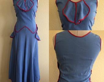 Amazing 1930s blue beach pajamas with red art deco buttons and red trim!