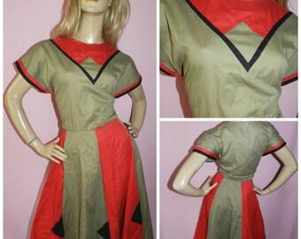 Vintage 80s Red/Khaki/Black NU WAVE GEOMETRIC Swing dress 14-16 L 1980s Colour block Military