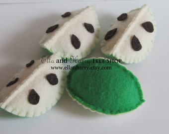 4 Felt Green Apple Slices ~ READY TO SHIP