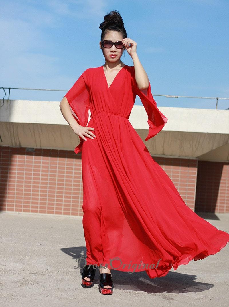 rot Maxi-Kleid rote lose rote Urlaub Kleid rote