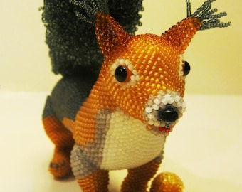 "Pattern / Tutorial Beaded Ornament - Master class for creating ""Squirrel"""