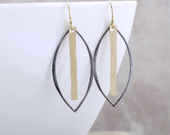 Dramatic Black And Gold Earrings Trendy Earrings Unique Earrings Gold Earrings Marquise Earrings Chic Jewelry Handmade Jewelry Gift For Her
