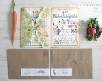 Peter Rabbit invitations - baby shower/birthday - vintage appearance- set of 20 - Lettuce and Graphic