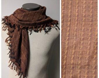 Vintage Scarf, 1980's, Brown Fringe Scarf, Vintage Brown Scarf, Boho Scarf, Gypsy Scarf, 100% Rayon 32 x 32 inches