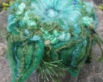 Fairy garden pincushion, needed felted pincushion, fiber art pincushion, Woodland pincushion,  soft  green and blue pincushion, mystical art