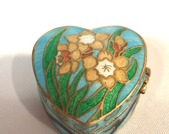 Vintage Enamel Lidded Pot - Daffodil Design.
