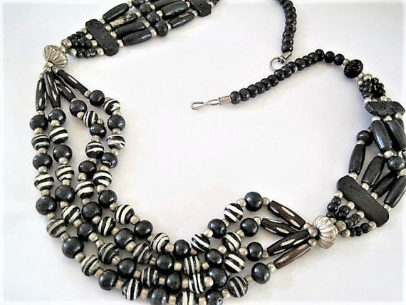 Black White Necklace, 4 Strands, 26 Inches of Trade Beads,  Boho Mod, Vintage Tribal Necklace
