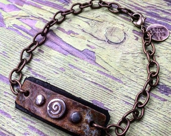 Rusted Patina Mixed Metal and Leather Bracelet