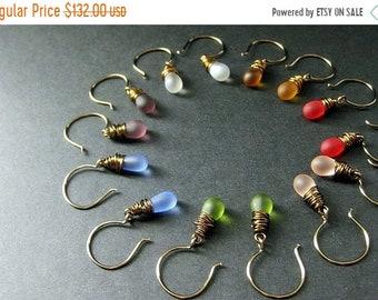 MOTHERS DAY SALE Bronze Earrings - Seven Teardrop Earrings for the Price of Six - Wire Wrapped Dangle Earrings. Handmade Jewelry.