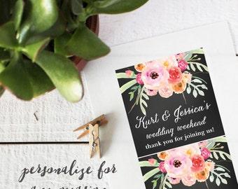 Floral Wedding Welcome Labels - Bouquet Design - Square - Welcome Bag Labels | Welcome Box Labels | Out of Town Guest Box Labels