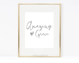 Amazing Grace Printable - Grace Printable - Quote Art - Printable Quote - Printable Wall Art - Amazing Grace - Gift For Her - Grace