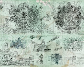 Stargate sg 1 blueprint aged stargate print final fantasy midgar blueprint aged specs a2 420mm594 or 165 malvernweather