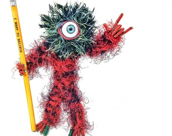Red Regal Cyclops - Bendable Copper Wire Creature - fun, unique, fully poseable! Hand-made out of recycled & repurposed materials.