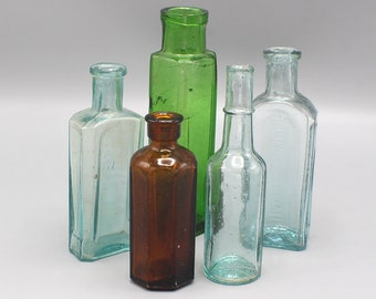 Instant Collection of 5 Vintage Bottles in Green, Brown, Blue Lung Tonic set no.4
