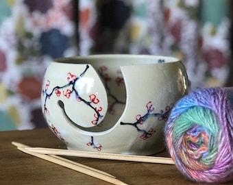 Yarn Bowl Knitting Bowl Cherry Blossom
