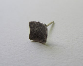 Spotted Stud Earring single tiny square oxidized silver handfabricated 1/4 inch