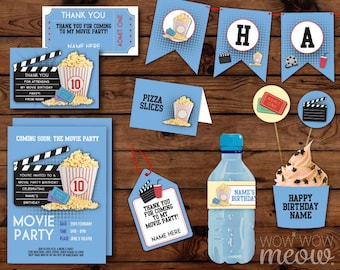 Movie Party Invitation & Party Package Birthday Invite Decoration Printable Collection DOWNLOAD Popcorn Blue Film Night Editable Personalize