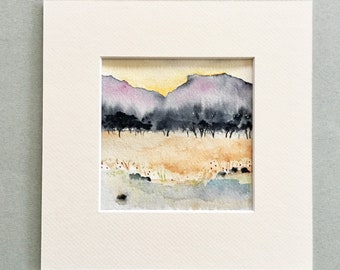 watercolour landscape painting, small painting, original art, art on paper, modern art