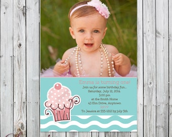 Sweet Cupcake Photo Birthday Invitation - Digital File