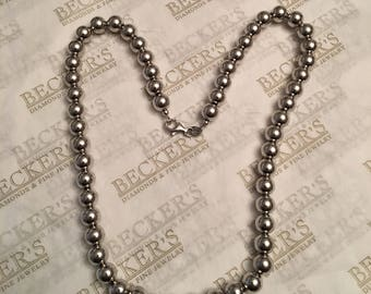 Vintage sterling silver 8mm Hollow Bead Ball Necklace, 18 inches