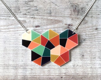 Geometric necklace - Bold necklace - Geometric pendant - Multicolour - Geometric jewellery - Summer necklace - Hexagon necklace