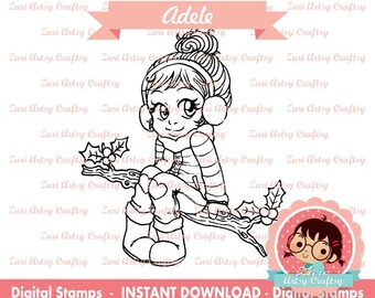 Digital Stamp, Adele, Scrapbooking Digital Stamp, Instant Download, Zuri Artsy Craftsy