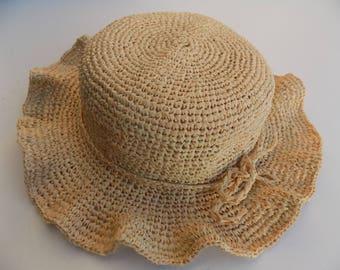 Straw Hat, child's hat, baby, girl, Sun Hat, beach hat, Cape, hat girl, crochet, handmade, accessories, Sun