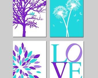 Purple Aqua Baby Girl Nursery Art Quad - Birds in a Tree, LOVE, Abstract Floral, Dandelions - Set of Four 11x14 Prints - Choose Your Colors