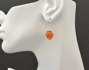 Orange crystal sterling silver earrings