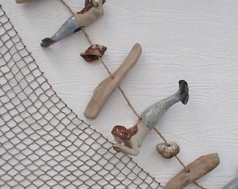Mermaid Ceramic/Shell/Driftwood Garland, Wind Chimes