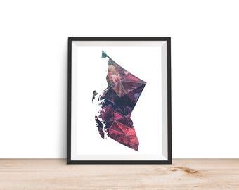 British Columbia Geometric - 8x10 British Columbia Print, British Columbia Art, British Columbia Printable, Canada Print, Canada Wall Art