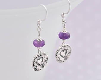 Silver Heart Earrings, Amethyst Earrings, Silver & Purple Earrings, Purple Heart Earrings, February Birthstone Earrings, Purple Gift For Her