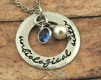 Unbiological Sister Necklace Best Friends Necklace Best Friend Gift Besties Necklace  Soul Sisters Jewelry Hand Stamped Jewelry