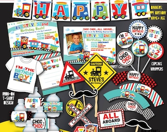 Printable Train Birthday Party Decorations- Train Party Decors-Train First Birthday-Any Age-DIY Choo Choo Party-Transportation Party