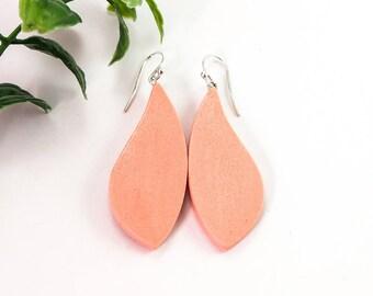 Peach earrings, Simple earrings, Leaf earrings, Elegant jewelry, Dangly earrings, Apricot earrings, Sterling silver, Bridesmaid earrings