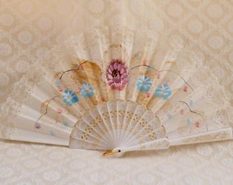 Painted Hand Fan, Vintage Lace Fan, Folding Hand Fan, Spanish Fan, Ladies Lace Fan, Gifts From Spain, Spanish Hand Fan, Hand Fan White