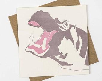 Blank Cards - Animal Card - Letterpress Cards - Hippo card - Luxury Cards - African Animals - Letterpress Birthday Card - New Baby Card