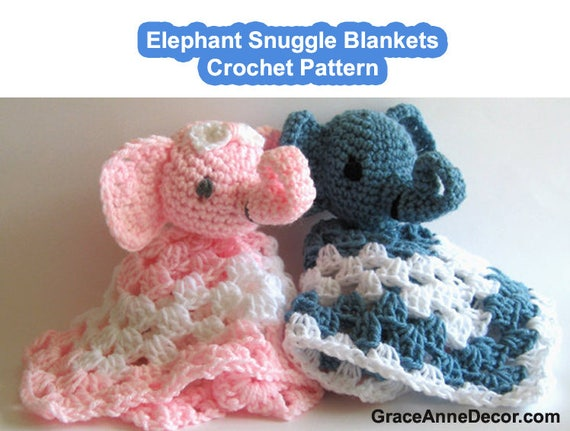 Crochet Pattern Snuggle Lovey Blanket Elephant Toy Amigurumi