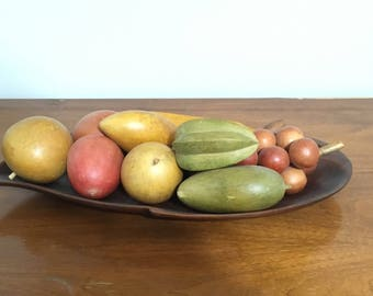 Mid Century Wooden Tray, Hand Carved Monkey Pod Wood Fruit Tray, Mid Century Modern Decor
