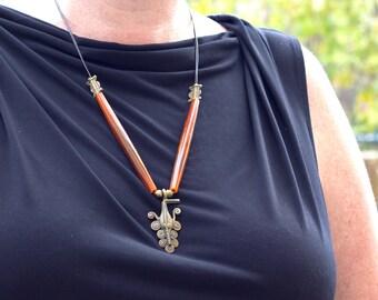 Cthulu African Mask Necklace Brown Pipe Beads Brass adjustable Long Handmade Artisan Teen Ethnic Statement OOAK
